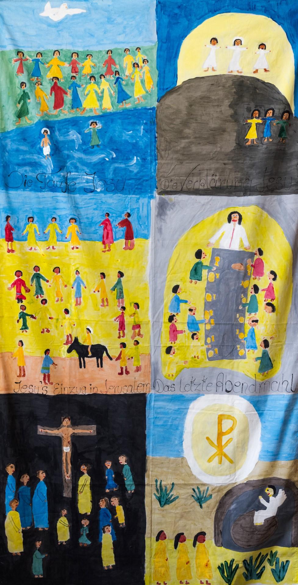 Fastentuch der Erstkommunionkinder des Jahres 2014 (© Herr Mag. Bernhard Wagner).