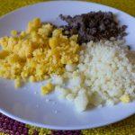 Drei Sterzsorten als Fastenspeise beim Frühstück nach dem Morgengebet (© Herr Mag. Bernhard Wagner).