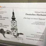Ankündigung der Aufführung des Deutschen Hochamtes in Wolfsberg und Bad St. Leonhard (© Katholische Pfarre Wolfsberg).