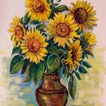 Ein weiteres Wandgemälde zeigt einen prächtigen Sonnenblumenstrauß (© Herr Mag. Bernhard Wagner).
