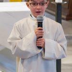 Begrüßungsworte von einem der Erstkommunionkinder (© Herr Mag. Bernhard Wagner).